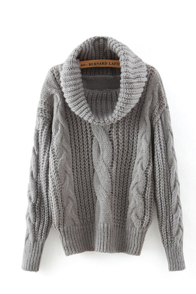 Gray High Neck Cable Knit Sweater