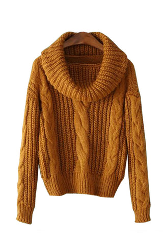 Long Sleeve High Neck Cable Knit Sweater