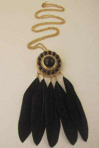 Black Bead Feather Necklace