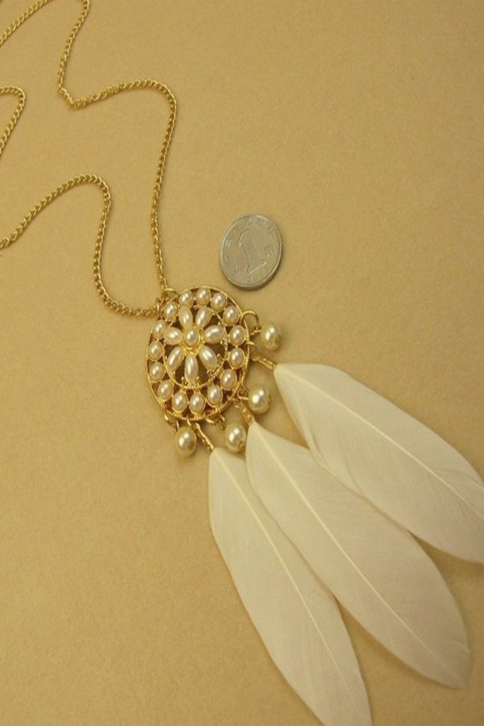 White Feather Pearl Necklace