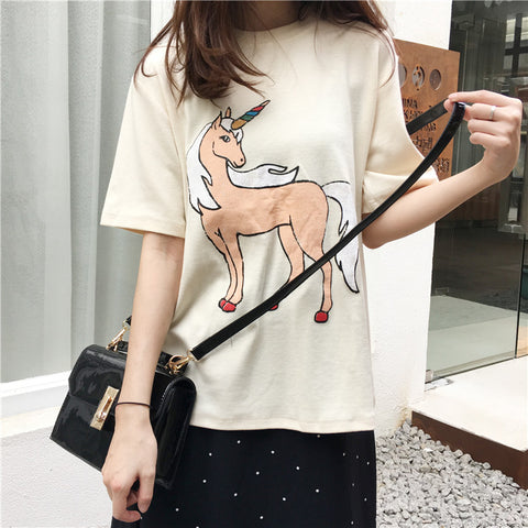 Unicorn Print T-shirt