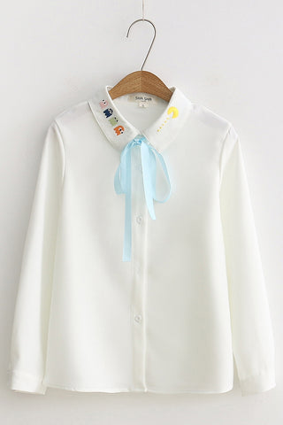 Cute Pac Man Collar Shirt