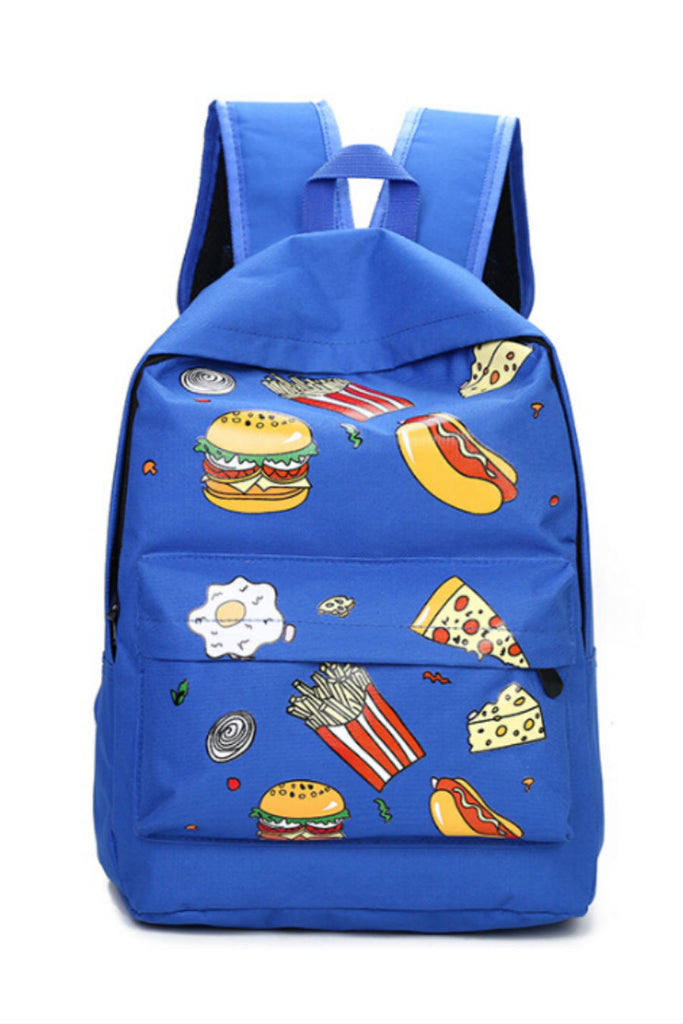 Harajuku Blue Pizza Printed Backpack