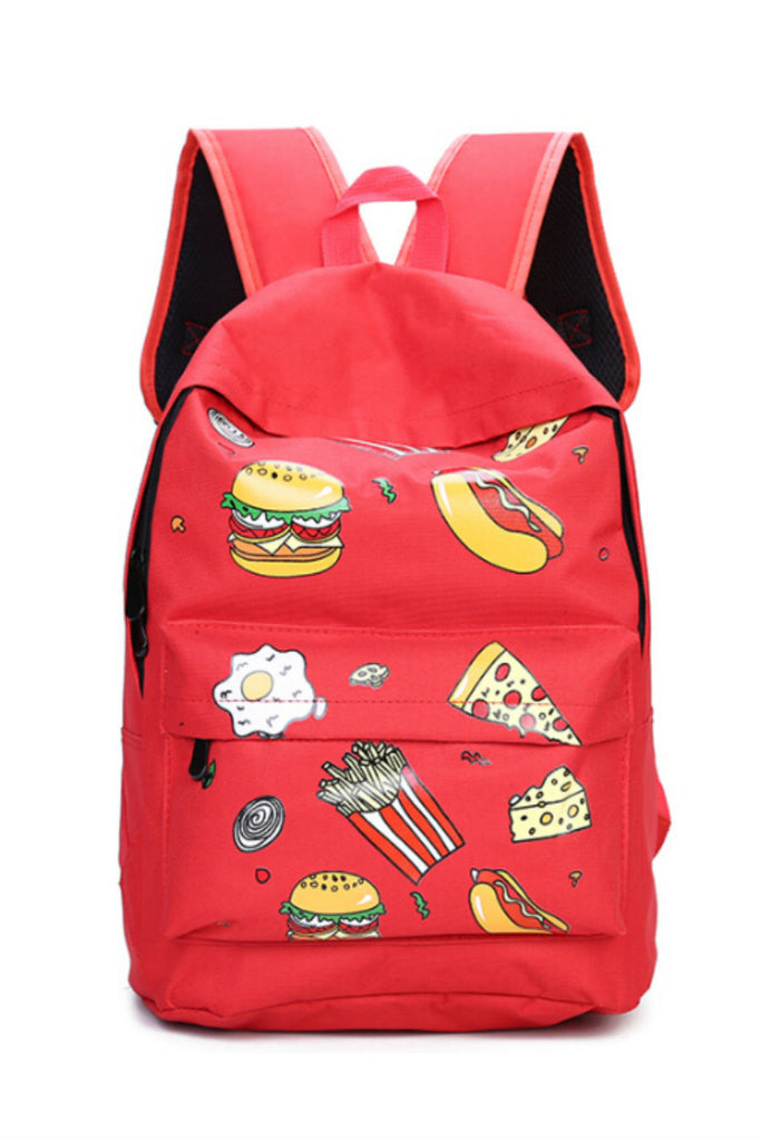 Harajuku Red Pizza Printed Backpack