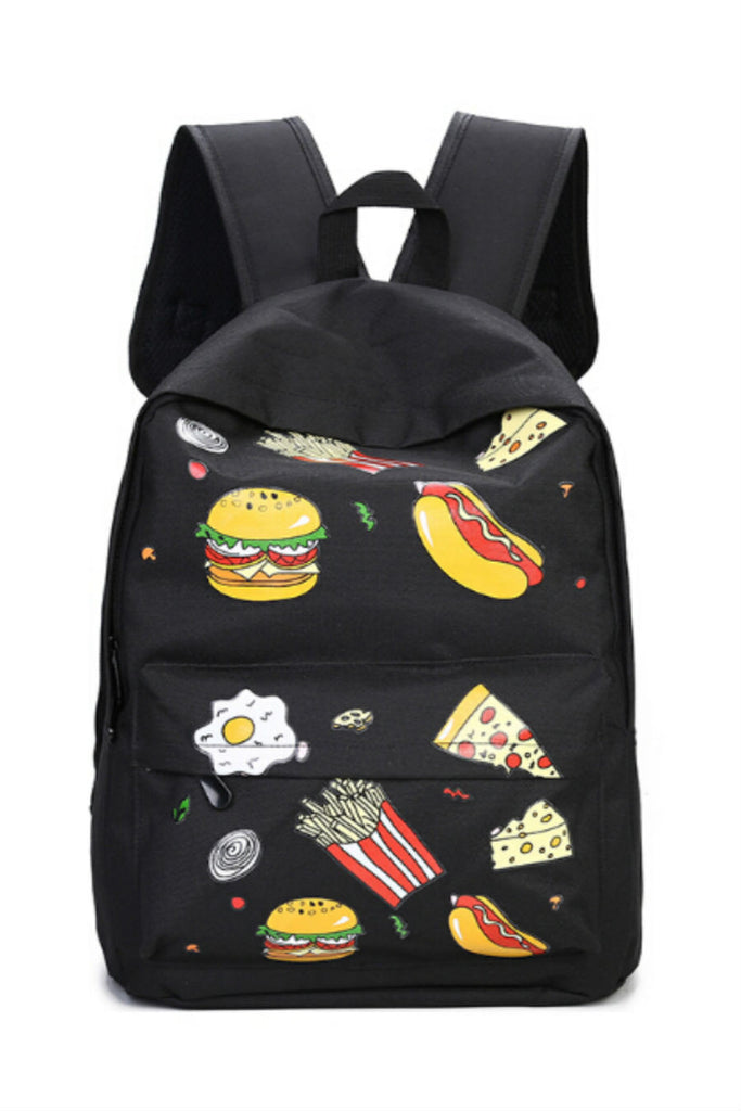 Black Pizza Printed Backpack
