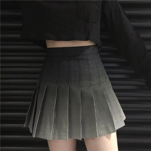 Gradient Plaid Midi Skirt