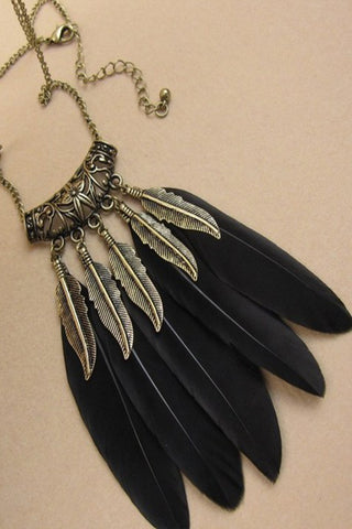 Black Feather Boho Necklace