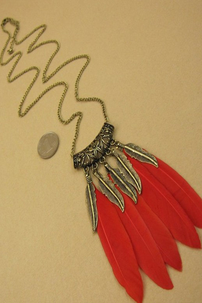Red Feather Boho Chain Necklace