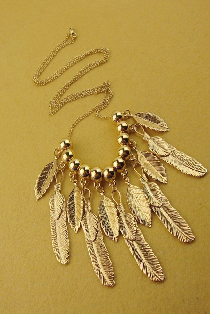 Golden Bead Leaves Necklace