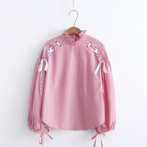 Bandage Striped Blouse