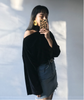 Black Flare Sleeve Velvet Shirt