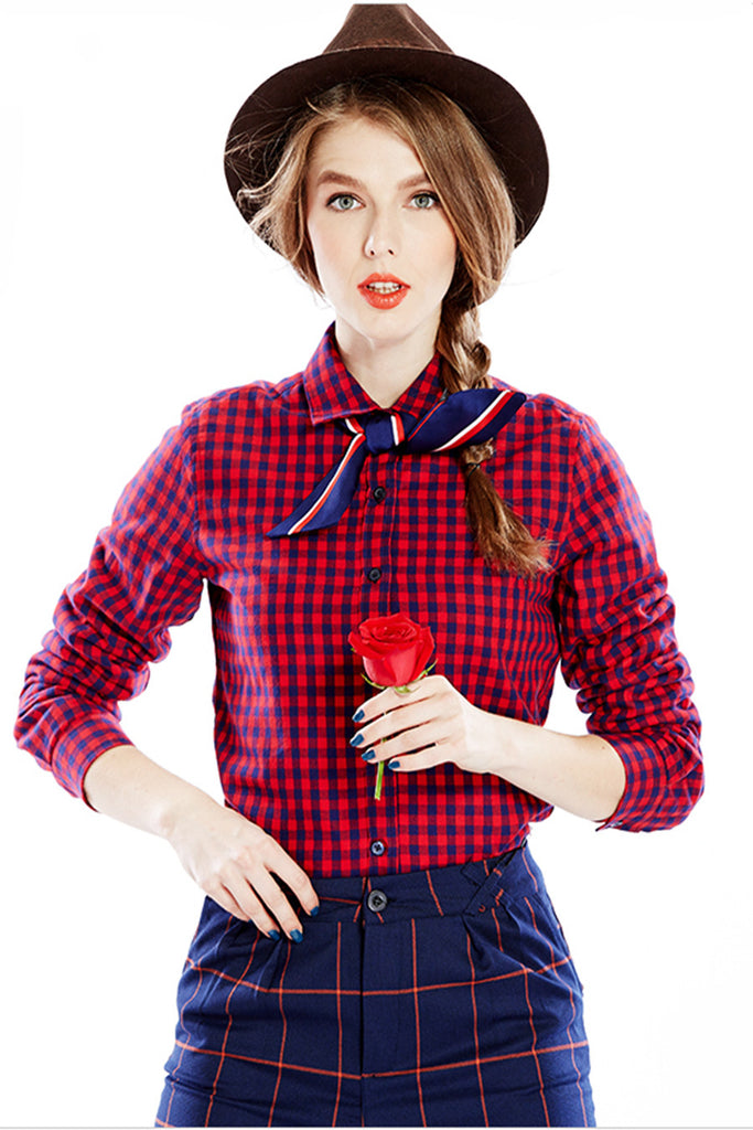 Vintage Red Lapel Plaid Blouse