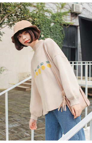Beige Pineapple Puff Sleeve Sweater