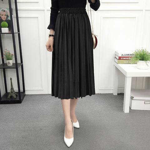 Black Velvet Pleated Skirt