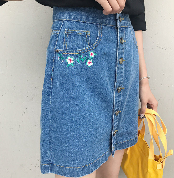 b3dae89c41 Floral Embroidery Denim Skirt