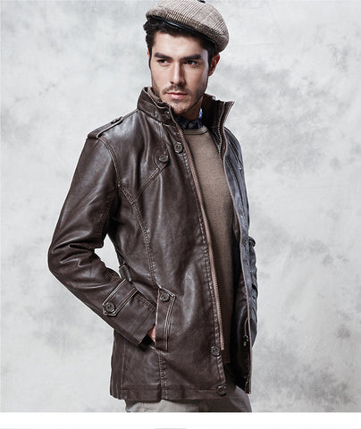 Faux Leather Long Jacket
