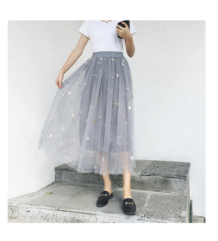 Sequins Flower Mesh Skirt