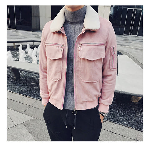 Suede Leather Zipper Jacket