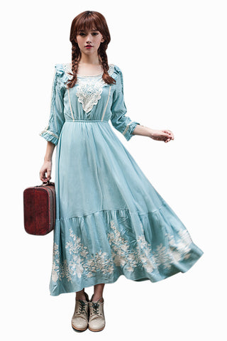 Vintage Embroidered High Waist Maxi Dress In Blue