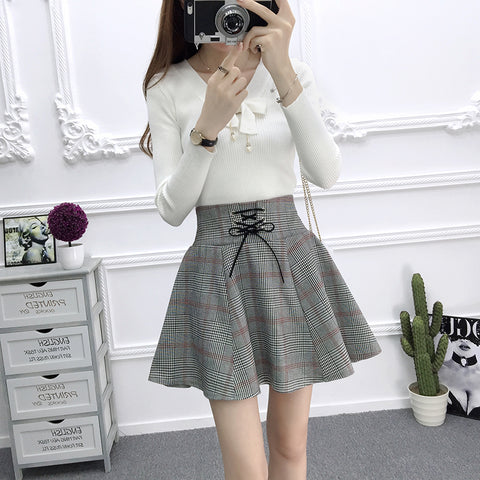 Grey Tartan High Waist Skirt