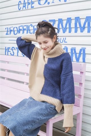 Beige Blue Turtleneck Knit Sweater