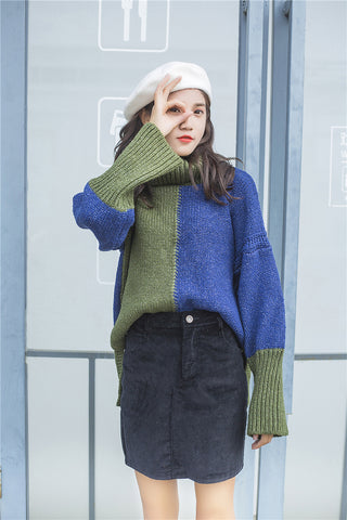 Green Blue Turtleneck Knit Sweater