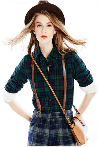 Green Long Sleeve Lapel Plaid Blouse