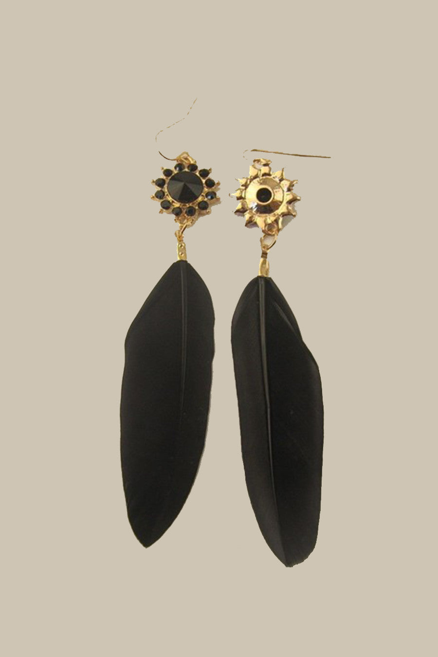 Blck Bead Feather Earrings