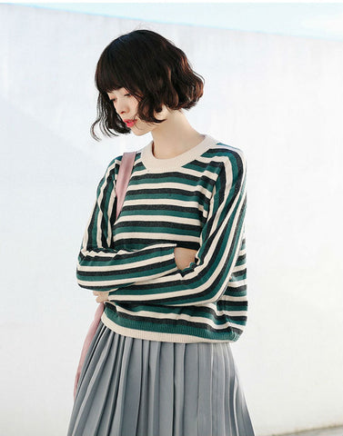 Retro Green Stripe Knit Sweater