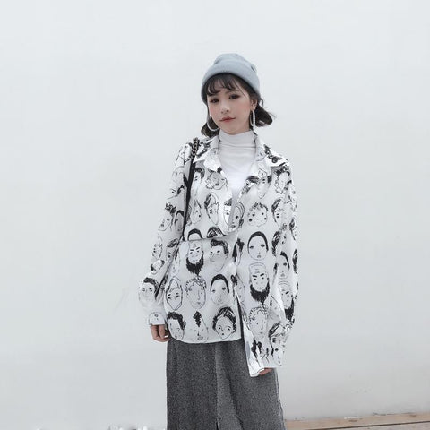 Black White Graphic Print Shirt