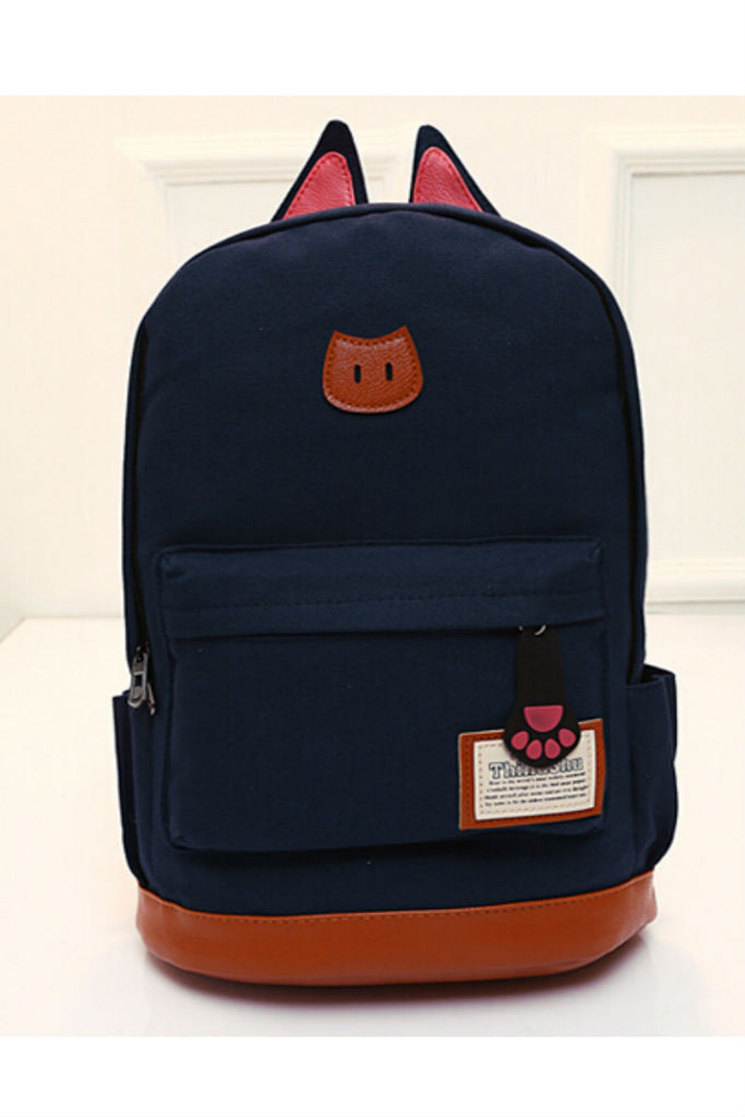 Navy Cute Cat Ear Backpack