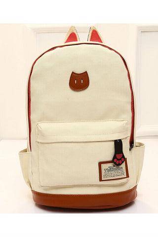 Beige Cute Cat Ear Backpack