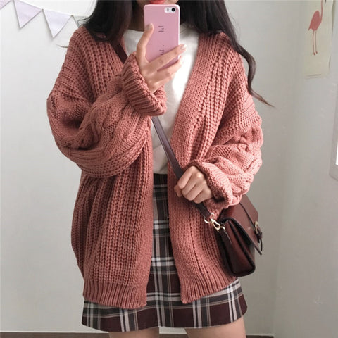 Vintage Knit Open Front Cardigan