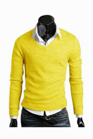 Slim Fit Yellow V-Neck Sweater