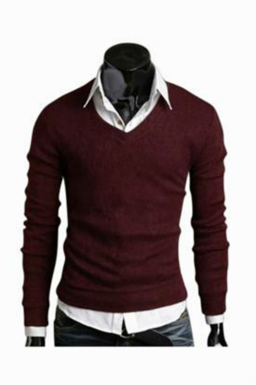 Slim Fit Burgundy Sweater
