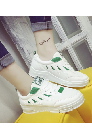Green Detail White Sneakers