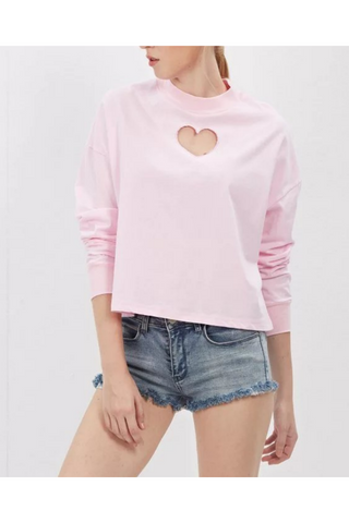 Pink Hollow Heart Sweatshirt
