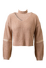 Beige Zippered Knit Sweater