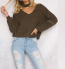 Army Green Zipper Knitted Sweater With Choker