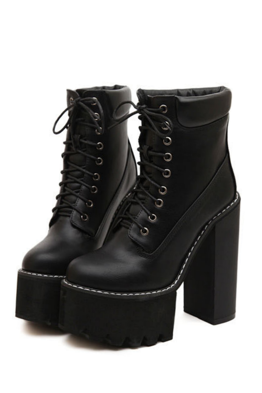 Punk Lace Up High Heel Boots. Tap to expand bf8632947