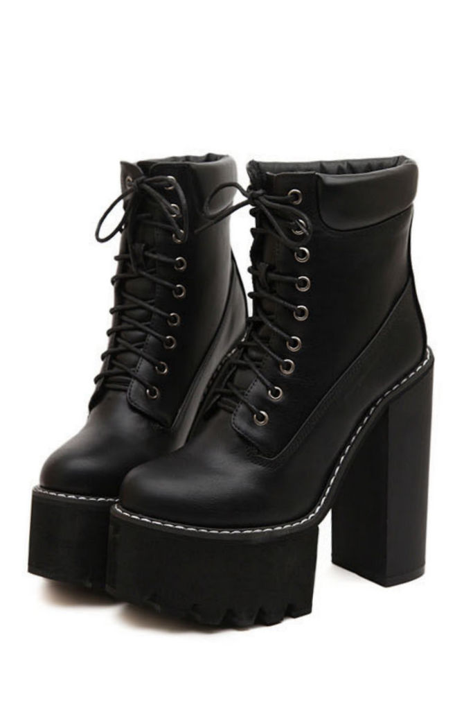 Punk Lace Up High Heel Boots In Black