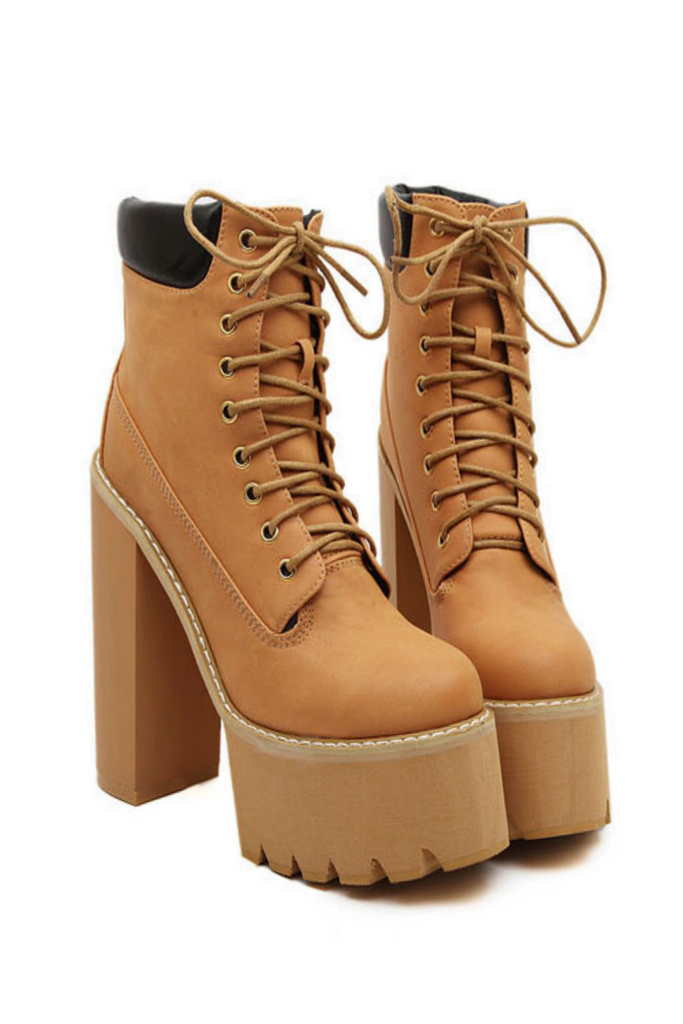 Pop Style Lace Up High Heel Boots In Tan