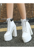 Lace Up High Heel Boots In White