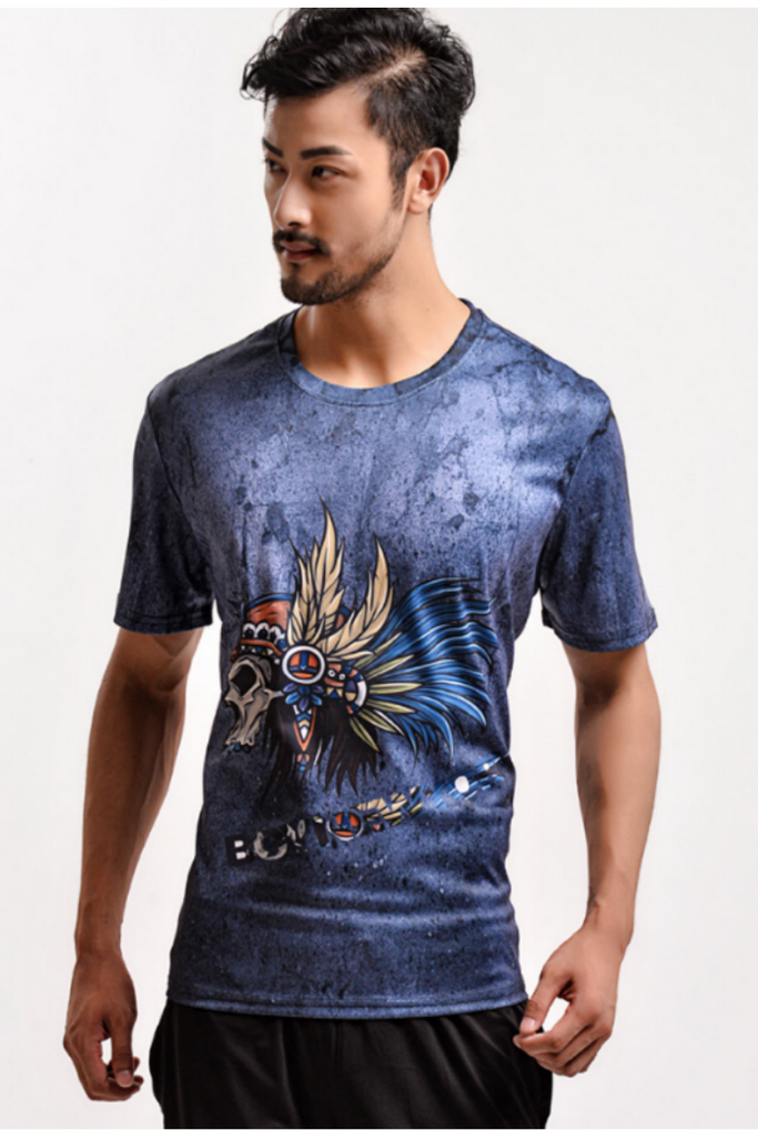 Tribal Skull Digital Multicolor Printed T-shirt