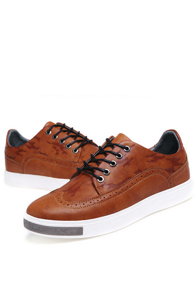 Brown Lace Up Oxford Sneakers