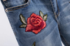 80's Vintage Rose Embroidery Jeans