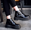 Buckled Black Patent Ankle Boots