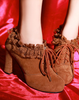 Vintage Lacey Heeled Booties In Tan