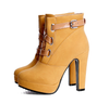 Yellow High Heels Ankle Booties