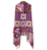 Purple Ethnic Tassel Hooded Scarf